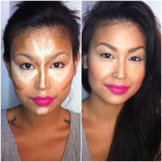 This photo clearly show the before and after process of contouring and highlighting and how it can have a massive impact on your appearance and confidence!