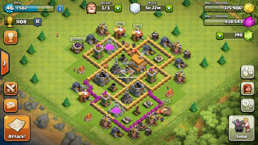 View of the village map in Clash of Clans, Town Hall level 6