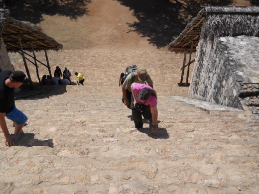 Climbing to the top of Ek Balam