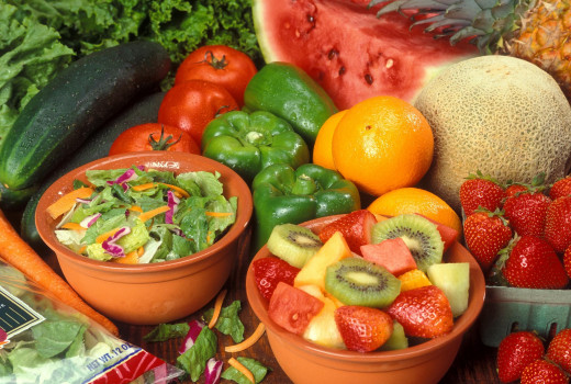 A varied selection of fruits and vegetables will provide the majority of the vitamins and minerals the human body needs to be healthy.