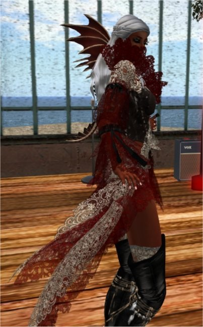 Fogbound Blues With Fire & I~ THIS Outfit originally in cream or as the creator calls it Ecru, some parts are modifiable!.. This one I have done in Maroon!