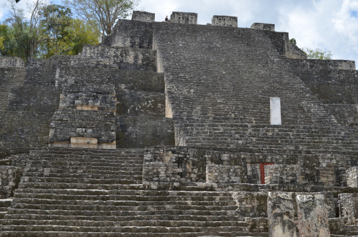 Second largest pyramid at Calakmul. There is a large structure behind this structure that is visible from the taller pyramid.