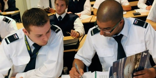 Students studying for pilot exams.
