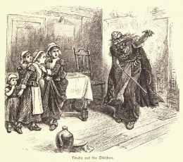 A rendering of Tituba (the slave) who fed the afflicted girls the witch cake recommended by Mary Sibley.