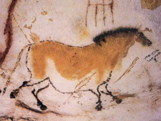 Cave drawings in Lascaux, France by prehistoric man.