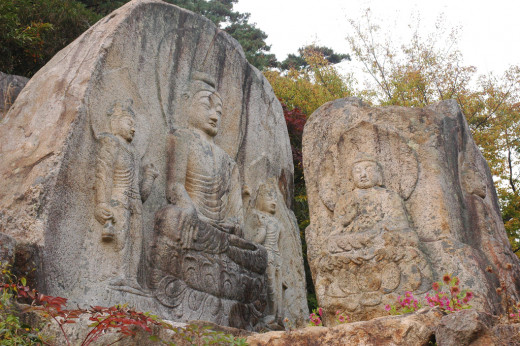 Rock carvings, Namsan, Gyeongju, South Korea.