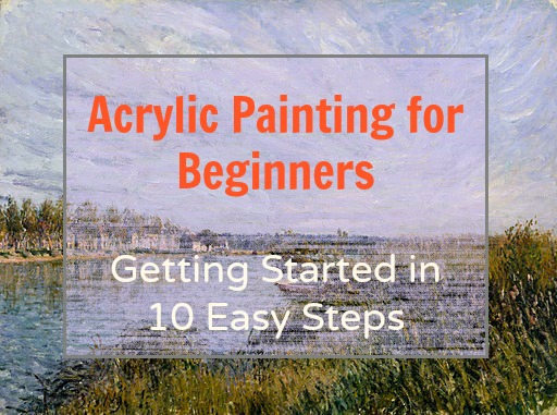 Acrylic painting for beginners: all you need to get started. Great info about art supplies and materials needed to start painting with acrylics for beginners.  Tips on what paint, brushes, canvas, and easel they should buy.