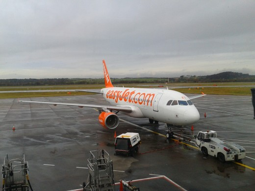 EasyJet Airbus 320 ready to depart. pushed towards taxi-way
