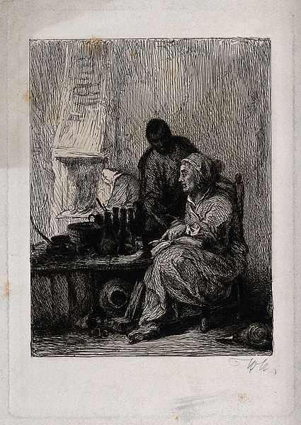 A colonial witch being helped by an attendant.