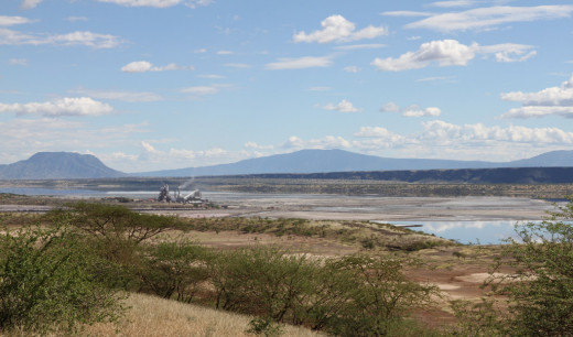 Lake Magadi itself is extremely salty, because of hot springs around its shorelines