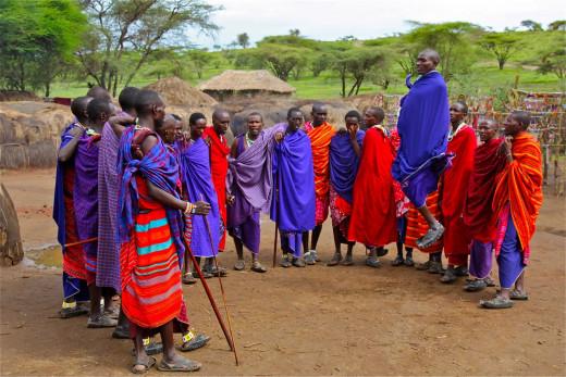 Masai outside their manyatta