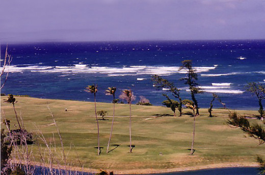 Waiehu golf course, view from the 10th green looking down on the front-nine, which runs along the ocean.