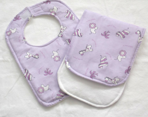 Zoo animal theme baby bib and burp cloth