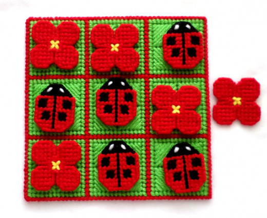 Handmade Tic-Tac-Toe Game with Lady Bug theme.