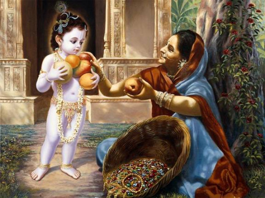 The fruit seller, offering fruits to Lord Krishna