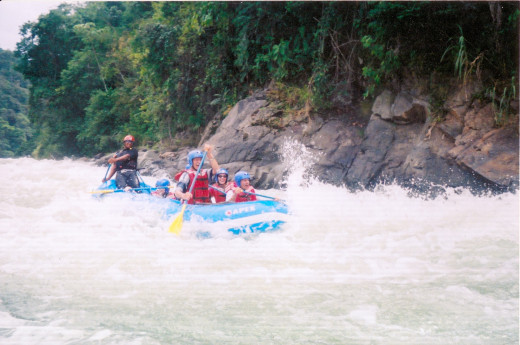 River rafting in white water Costa Rica around 2008-2009, Joe in front and friends