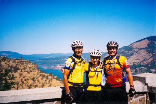 Joe, Shannon and nephew Mark on a bicycle tour Columbia River Ride, Oregon
