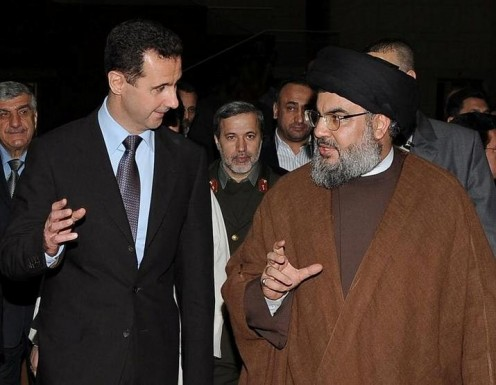 Sayyed Hassan Nasrallah with Bashar al-Assad the leader of Syria. The Party of God has fought alongside Syrian troops to defend Syria from the Rebels in Syria's civil war.