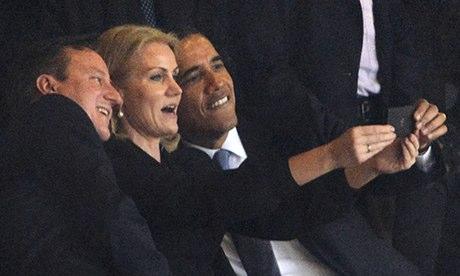 President Obama taking selfie at Nelson Mandela's funeral.