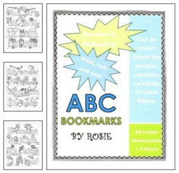 Bookmarks to color that teach the alphabet.