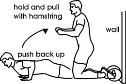 black and white diagram of how to perform hamstring exercise with personal trainer
