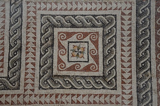 A mosaic exhibited at the British Museum.