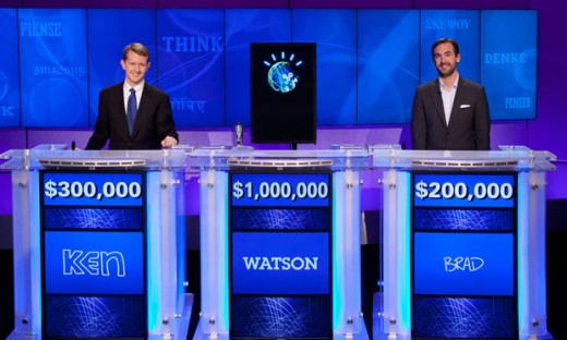 Supercomputer Watson competes against Ken Jennings (L) and Brad Rutter during a Jeopardy! game in Feb. 2011