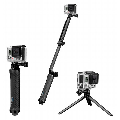The GoPro 3 Way. A Grip, stand and selfie pole in one unit.