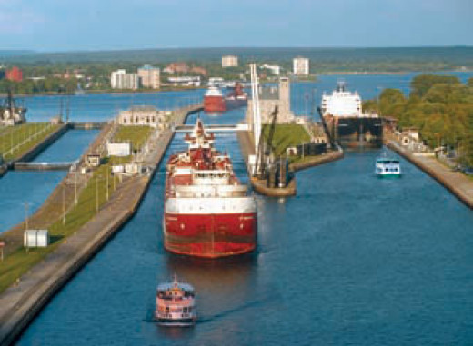 The busy Sault Ste. Marie locks that join Lake Superior shipping to the rest of the Great Lakes.