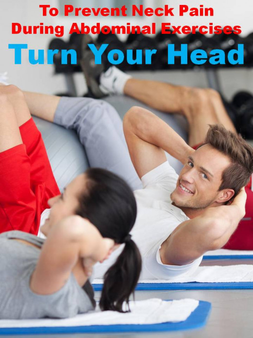 How to prevent neck strain during exercise - turn your head colorful poster with man and woman doing abdominal crunches