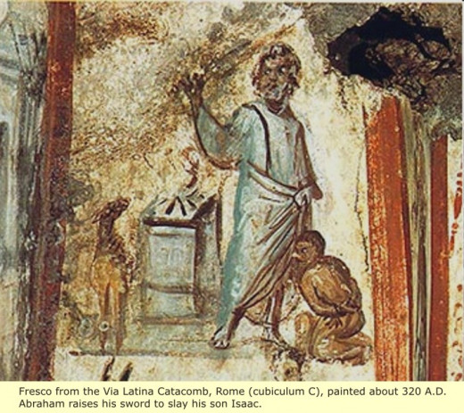 This photo was found in the catacombs it is Father Abraham and Isaac