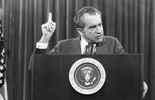 Former President Nixon declaring a valid point in his speech