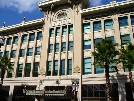 The The St. James Building, which currently houses Jacksonville City Hall.  Designed by architect Henry John Klutho and considered by many to be his masterpiece, the building opened in 1912.