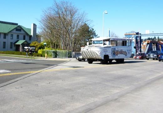 A Ride the Ducks Vehicle Crossing the Fremont Bridge - Seattle, WA