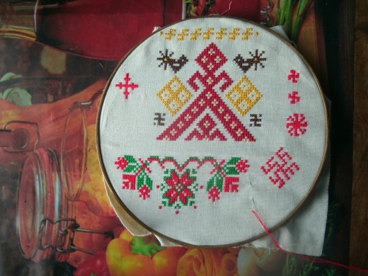 Embroidery in progress on hoop