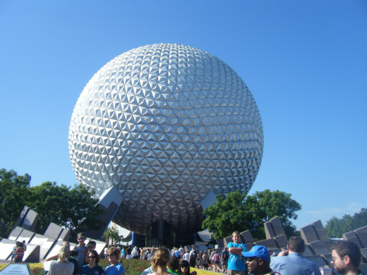 The easily recognized entrance to EPCOT