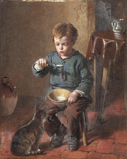 Porridge. Signed 'W Hemsley', Oil on panel. 16.5 x 13 cm