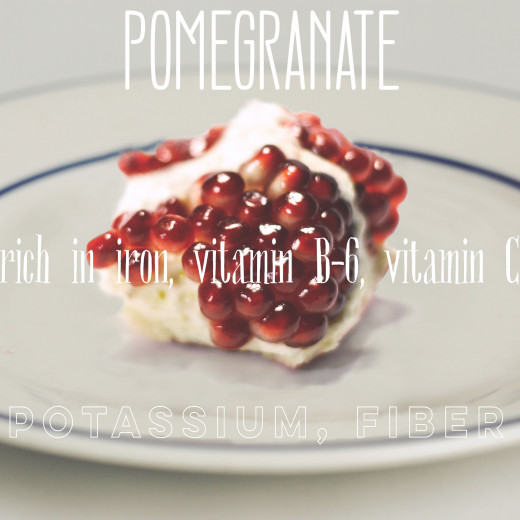 Every 100 g of pomegranate contain 0.3 mg of iron.