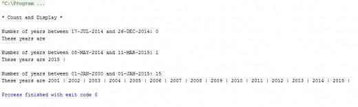 Results of the yearsBetween() method.