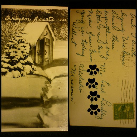 California Postcard Winter of 1949 Famous Frasher's Card