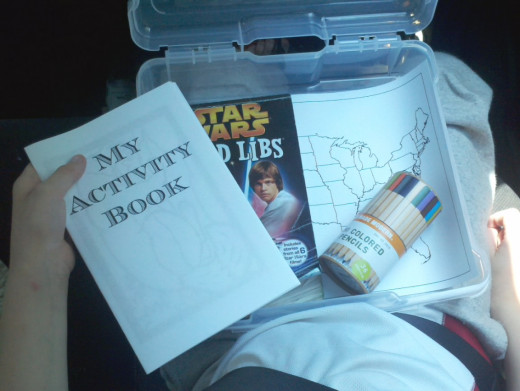 Road trips are easier on kids when they have a survival kit like this.