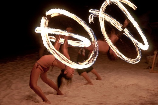 Fire dancers are a popular site during the night