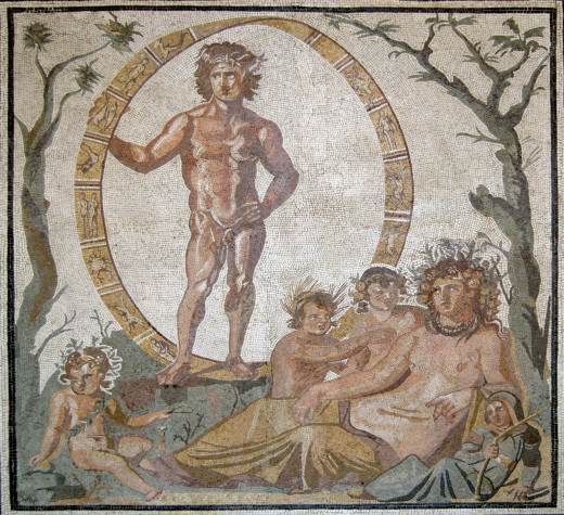 Uranus, the sky god stands, while Gaia, the mother-earth goddess reclines in the foreground with her four children, possibly reflecting the four seasons, around her.  The image is from a floor mosaic.  The Romans called Uranus, Aion, and Gaia, Tellus