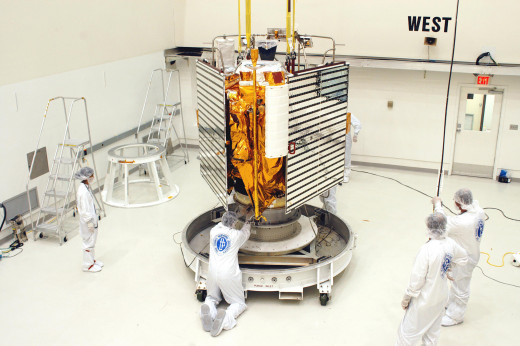 MESSENGER being prepared for launch.  MESSENGER stands for MErcury Surface, Space ENvironment, GEochemistry, and Ranging. The craft was launched from Cape Canaveral on August 3, 2004, following a two-day delay because of adverse weather conditions.