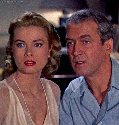 "Grace Kelly and James Stewart get caught up in the strange activities of a neighbor in ""Rear Window"" (1954)."