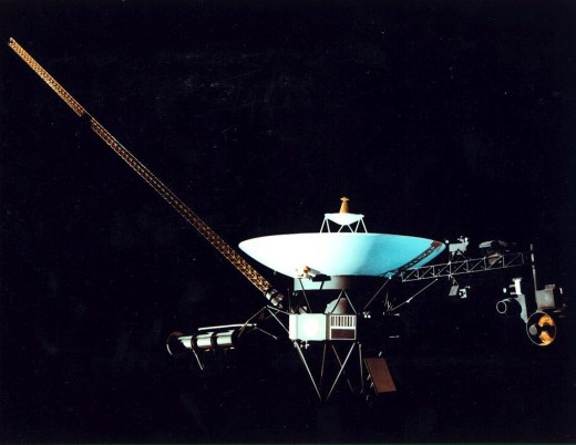 Voyager 1 is currently the farthest spacecraft from Earth.  Launched by NASA on September 5, 1977, to study the outer Solar System, the space probe began photographing Jupiter in January 1979 and made its closest approach to the planet in March 1979.
