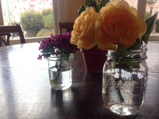Mason jars are great alternatives to vases or glasses.