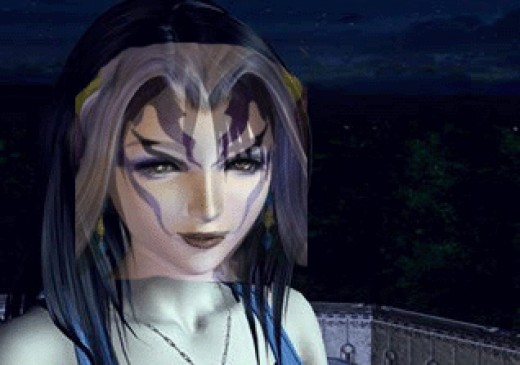 Rinoa with Ultimecia's face placed over her own