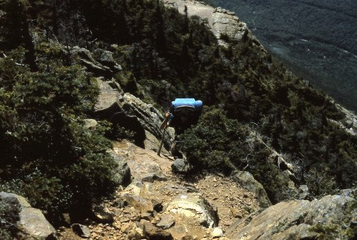 Climbing a steep section of the Webster Cliff Trail.