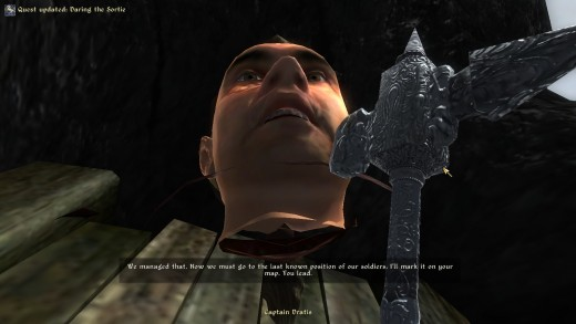 The Elder Scrolls games are famous for all of their glitches, but having this dude's floating head tell me what we need to do might be my favorite.